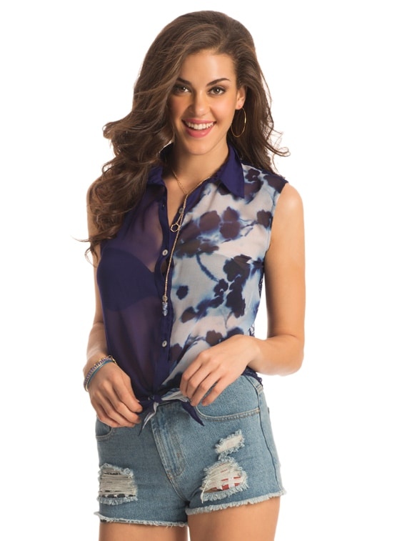 Half Sheer Half Print Tie-up Shirt With Full Lace On The Back - PrettySecrets - 909008