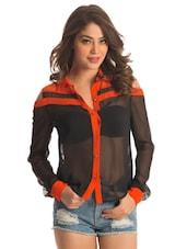 Black Sheer Shirt With Tangerine Trims - PrettySecrets