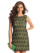 Lime And Black Lace Dress - PrettySecrets
