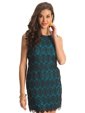 Aqua And Black Lace Dress - PrettySecrets