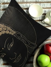 Buddha Face Embroidered Black And Gold Cushion Cover - 13 Odds
