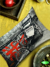 Antique Rickshaw Print Black Cushion Cover - 13 Odds