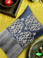Damask Pattern Embroidered Grey & Silver Cushion Cover - 13 Odds
