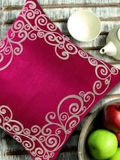 Filigree Embroidered Magenta & Silver Cushion Cover - 13 Odds