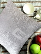 Architectural Embroidery White & Silver Cushion Cover - 13 Odds