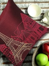 Eiffel Tower Embroidered Maroon  & Gold Cushion Cover - 13 Odds