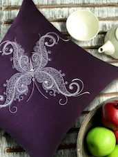 Stylized Butterfly Embroidered Burgundy & Silver Cushion Cover - 13 Odds