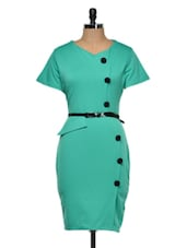 Faux Overlap Green Midi Dress With Belt - Dress Kart