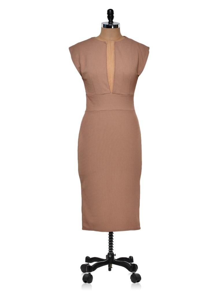 Brown Deep Neck Pencil Dress - Dress Kart