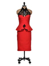Red Peplum And Halter Lace Dress - Dress Kart