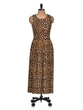 Leopard Print Maxi Dress - Dress Kart
