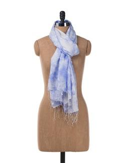 Tie & Dye Pashmina Stole In Blue - URBAN PARI