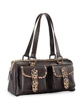 Black Handbag With Animal Print Trims - Phive Rivers