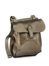 Glossy Grey Leather Sling Bag - Phive Rivers