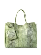 Green Reptile Skin Hand Bag With Pouch - Phive Rivers