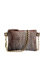 Brown Snake Print Sling Bag With Metallic Chain Handles - Phive Rivers