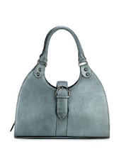 Glossy Silver Grey Leather Hand Bag - Phive Rivers