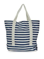 Navy Blue And White Striped Tote Bag - Art Forte