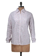 White And Pink Floral Shirt With Pleated Front - Silk Weavers