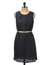 Solid Black Lacy Dress - Silk Weavers - 911722