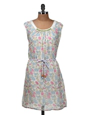 White Floral Dress With Fabric Belt - Silk Weavers