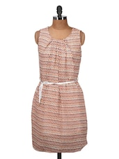 Peach And White Printed Sleeveless Dress - Silk Weavers