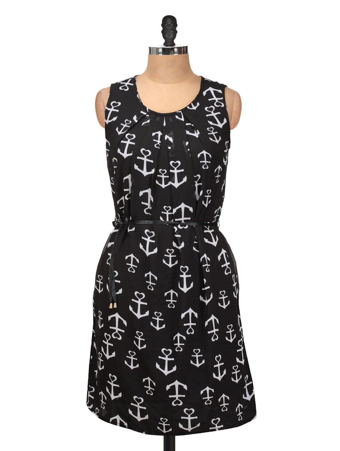 Black And White Anchor Print Dress - Silk Weavers