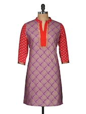 Printed Purple Cotton Kurti - Free Living