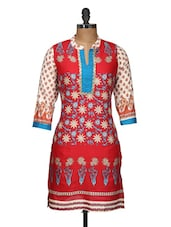 Floral Print Red Cotton Kurti - Free Living