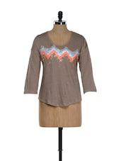 Brown Sequinned Linen Top - RENA LOVE