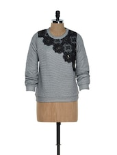 Quilted Floral Poly-Cotton Grey Sweatshirt Top - RENA LOVE