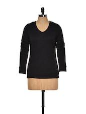 Black V-neck Full Sleeves Sweater - KAXIAA