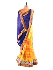 Royal Blue & Yellow Bandhej Saree - DLINES