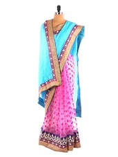 Blue And Pink Printed Saree - DLINES