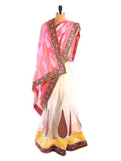 Pink And Off- White Embroidered Saree - DLINES