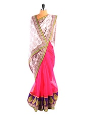 White & Pink Printed Saree - DLINES