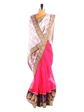 White & Pink Printed Saree - DLINES