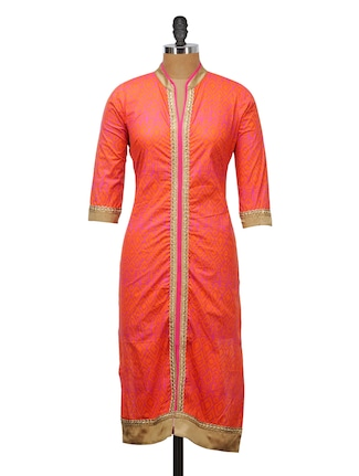 BRIGHT ORANGE AND PINK KURTA