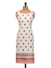 WHITE & RED PRINTED KURTA - Bitterlime