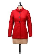 Red High Waist Woolen Jacket - MARTINI