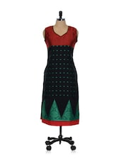Printed Black Cotton Kurti - ADVITA