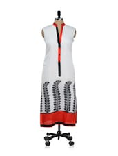 Leaf Print White Silk Long Kurti - ADVITA