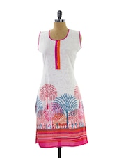 White And Pink Printed Kurta - Maybell
