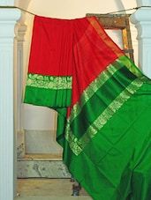 Red And Green Silk Saree - KAASI