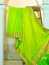 Lime Green Silk Saree - KAASI