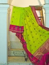 Lime Green Silk Saree With Bright Pink Border - KAASI