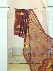 Red And Black Checkered Print Tussar Silk Saree - KAASI