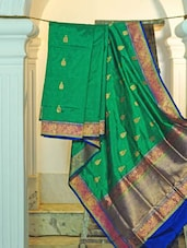 Green Silk Saree With Booti Work - KAASI