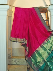 Bright Pink Silk Saree With Green Border - KAASI