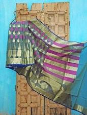Blue And Purple Kora Silk Saree - KAASI